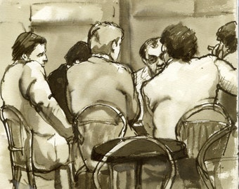 Au Cafe, Paris France 1980s. Reed Pen and Sepia Ink Drawing on Sketch Paper, Signed Original Vintage Fine Art