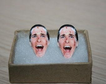 American Psycho Christian Bale Patrick Bateman Post Stud Earrings Jewelry