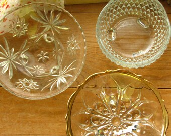 Instant Vintage Collection Clear Glass Pedestal Candy Relish Dish Bowl