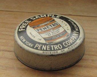 Vintage Advertising Free Sample Penetro Company Tin