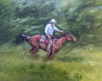 Cowboy on horse riding fast rider original Dutch oil painting 70 x 90 cm (27 x 35 inches)