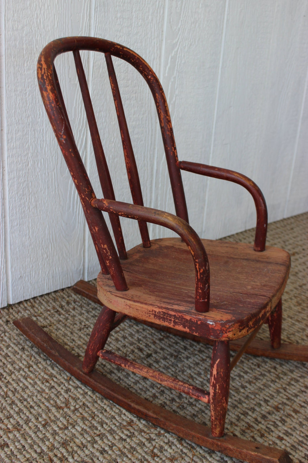 Child Red Rocking Chair ~ Antique vintage childs red solid wood distressed rocking