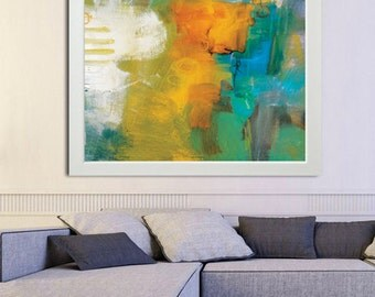 yellow and blue green Painting, Giclee Print from Abstract Painting, Green Orange Modern Painting, Large Abstract Painting, gold painting