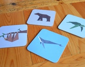 Set of 4 Coasters with Geometric Animal Designs