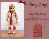 Knitting Pattern for American Girl Doll  Marsala 5 piece set Dress Coat Hat Legwarmers Flower Spring Summer Doll Clothes PDF File