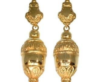 Antique dangle earrings acorn 18K rose gold Victorian