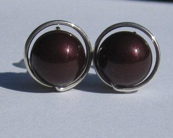 Large Maroon Pearl Stud Earrings (10mm), Swarovski Pearl Stud Earrings, Wire Wrapped Sterling Silver Stud Earrings, Maroon Stud Earrings