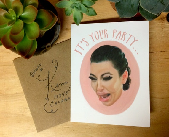 kim kardashian ugly cry crying humor greeting card, Birthday card