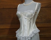 Bridal White vintage merrywidow with garter holders size 34