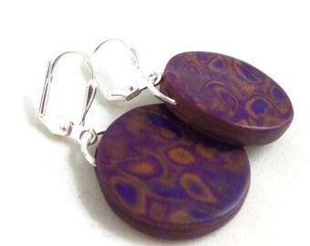 Dark purple earrings round clay dangles