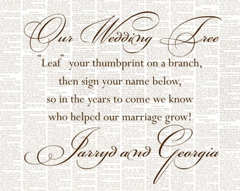 Thumbprint Tree Poem to compliment a Wedding or Anniversary Thumbprint Tree.