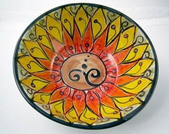 Ceramic Serving Bowl - Yellow Orange Lotus Flower - Handmade Clay Bowl - Majolica Pottery - Kitchen Bowl - Chakra - Zen