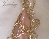 Australian Pink Opal Gold Filled Wire Wrapped Pendant