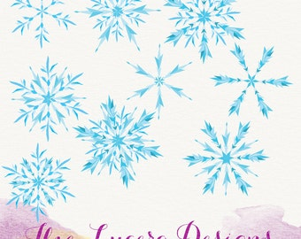 9 Snowflake PNG clip art overlays