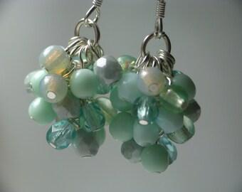 Seafoam Cluster Earrings - Pastel Blue Green Earrings, Czech Glass and Silver