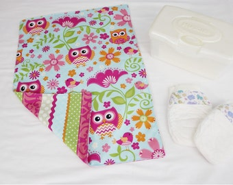 Owls on Blue and Stripes Waterproof Changing Pad - large