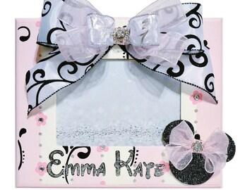 Custom Photo Frame, Personalized, Pink Black White