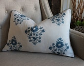 """Matthew Patrick Smith for Schumacher Beatrice Bouquet in indigo - 16""""X24"""" - Pattern on the front - Ready to ship"""