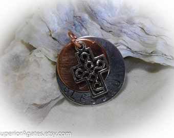 Blessed Hand Stamped  Necklace Aluminum Copper