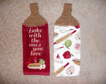 """Crocheted Topped Hanging Kitchen Towels- """"Bake With the Ones You Love"""" towels with tan yarn toppers- Housewarming gift"""