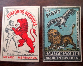 2 antique Swedish matchbox papers - unused, labels, 1900s, lions