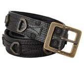 D RING BELT - Black Leather Belt with Hand Cast D Rings - Rocker - Punk - Street - Designer Jan Hilmer