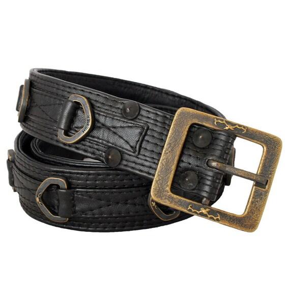 d ring belt black leather belt with cast d rings