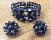 Vintage 1950s Signed Alice Caviness Bracelet and Earrings / Black Faceted Glass Beads