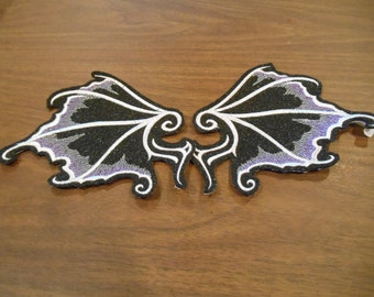 pair of embroidered dragon/ bat wings iron on patches