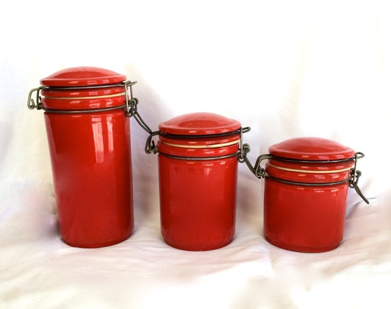 red kitchen canisters ceramic vintage canister set ceramic jars by ellasatticvintage 21439