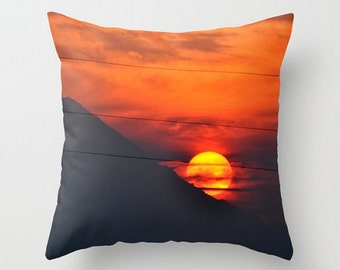 Sunset Over Mt. Hood Pillow, Beautiful Mountain Decor, Landscape Pillow,Orange,Red,Shadow, Fiery Sky, Oregon Throw Pillow, Living Room Decor