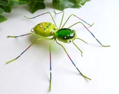 Handmade Small Hanging Green Spider With a Kaleidoscope of Color Collectable For Entomology and Bug Lover