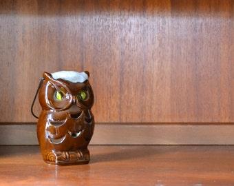 vintage brown ceramic owl lantern