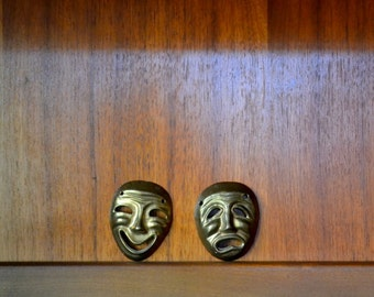 vintage india brass comedy and tragedy masks