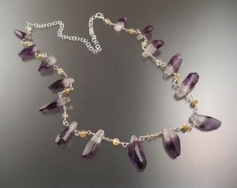 Amethyst Crystal and Rutilated Quartz adjustable length Necklace Sterling Silver