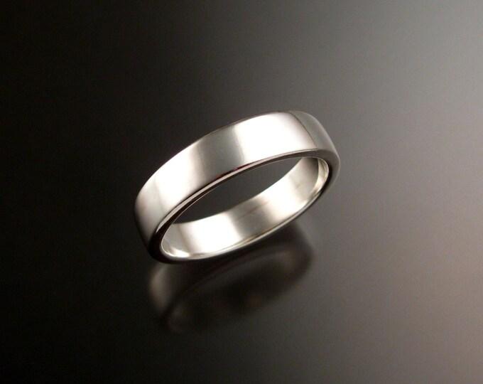 14k White Gold 2x5mm rectangular comfort fit bright finish Wedding band Handmade ring