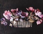 Silver and Berry tone comb with sapphire, garnet and quartz