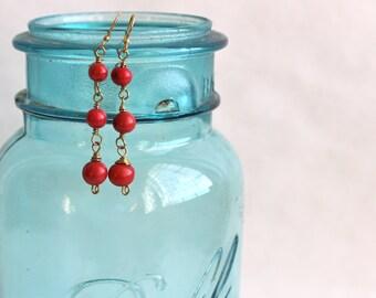 Three Red Acai Seed Earrings /Seed Earrings / Acai Jewelry / Brass Wire Wrapped / Dangle Earrings / Acai Earrings / Boho