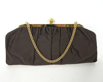 Vintage 1940s Chocolate Brown Purse - 40s Convertible Clutch or Handbag - on sale