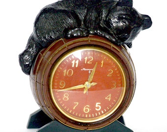 Russian Desk Mantle Table Clock Molnija Bear and Barrel 1970s from Russia Soviet Union USSR