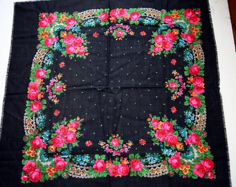 "Vintage Russian Scarf Shawl Pink Roses Flowers Floral on Black Wool 33"" inches From Russia Soviet Union USSR"