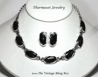50s Silver Black Thermoset Necklace & Earrings Demi Parure Set with J-hook and Extender - Vintage 50's Early Plastic Costume Jewelry Sets