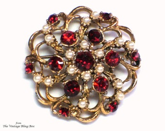 Pearl & Rhinestone Flower Brooch with Seed Pearls and Pave Set Red Chaton Cut Crystals in Gold Open Metalwork - Vintage 50's Costume Jewelry
