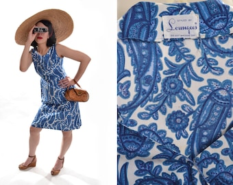 Vintage 1950s Blue Paisley Dress - Button Back - Styled by Loungees