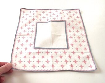 Vintage Print Handkerchief, Geometric Design Hankie in Red and Gray Blue