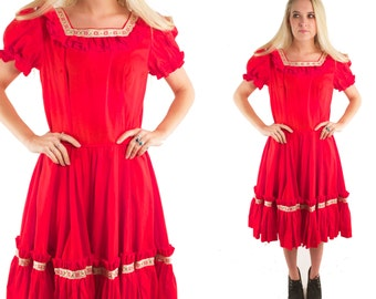 KATELYN 70s Sweet Bright Red Square Neck Ribbon Carnival Country Western Girl Ruffled Tiered High Waist Square Dance Full Circle Skirt M