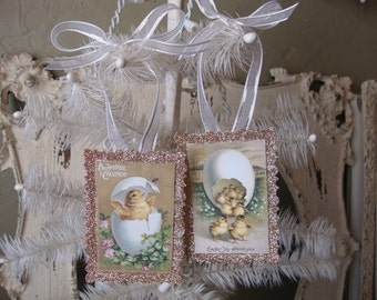 Easter glitter ornaments victorian easter card scrap cute chicks tags glittered tags gold glitter vintage style home decor easter tags