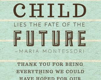 Custom Maria Montessori Teacher Appreciation Card