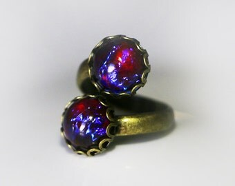Dragons Breath Opal Ring  Red Opal Fire, Opal Wrap Ring, Dual Stone Ring