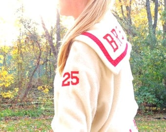 Antique Cream White and Red Bristol Pennsylvania Cheerleading Jacket Flap Red #25 FREE Shipping